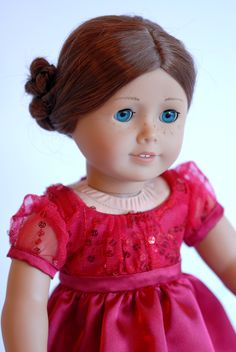 """American Girl Doll Clothing: Red Sparkle Party Dress with accessories, American Girl Doll dress, Fancy Dress for 18"""" dolls, ag doll dress, by BonjourTeaspoon on Etsy"""