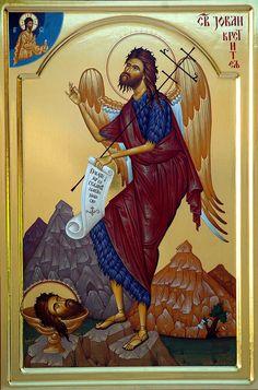 Saint John the Baptist Byzantine Icons, Byzantine Art, Orthodox Christianity, John The Baptist, Religious Icons, Orthodox Icons, Little Sisters, Saints, Religion