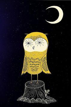Night Owl - Archival Art Print of an Original Illustration - 8.5 x 11 - Starry Night, Yellow, Owl