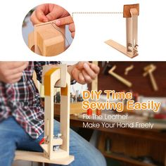Amazon.com: Wood Leathercraft Hand Stitching Sewing Leather Lacing Pony Horse Clamp Desktop Tool