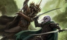 Drizzt Do'Urden clashes with the Skull Lord of Daggerdale.