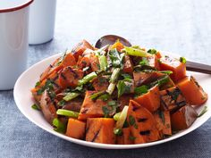 Grilled Sweet Potato and Scallion Salad Recipe : Bobby Flay