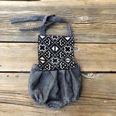 Baby girls' Romper in natural gray, vintage geometric pattern with around the neck bow tie  https://www.etsy.com/listing/569498690/romper-6-months-sunsuit-boho-baby