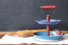 Enamelware Kitchen 2-Tier Caddy Organizer from Vintage Pie Plates