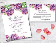 Hydrangea Wedding Invitation, Floral Wedding Invitation, Purple Wedding Invitation, Purple Wedding, Wedding Invitation, Deposit, Purple by PoshPaperOccasion on Etsy https://www.etsy.com/listing/255110107/hydrangea-wedding-invitation-floral
