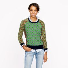 J.Crew - Collection cashmere tile sweater in lime