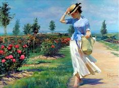 Vladimir Volegov Tuesdays Stroll painting is shipped worldwide,including stretched canvas and framed art.This Vladimir Volegov Tuesdays Stroll painting is available at custom size. Woman Painting, Figure Painting, Painting & Drawing, Garden Painting, Artist Painting, Vladimir Volegov, Albrecht Durer, Russian Art, Female Portrait