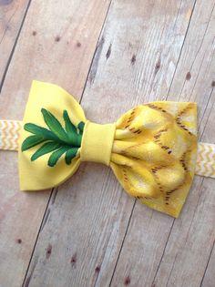 Piña arco headbandhand pintado amarillo brillo verde arco
