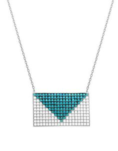 Lord & Taylor Envelope-Shaped Pendant Necklace Women's Blue