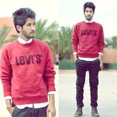 Levi's Red Sweatshirt, Zara Black Amy, Leather Brown