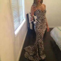 Long dress tiger love it Printed Gowns 2d3f7c7b8