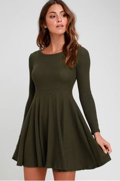 aaeff0b7b48c The Lulus Fit and Fair Olive Green Ribbed Knit Long Sleeve Skater Dress  will have you looking cute as a button!
