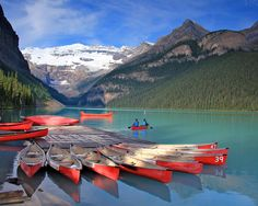 https://flic.kr/p/ae2oPW | Boat Launch at Lake Louise | Early morning at the boat launch at Lake Louise, August 2011.