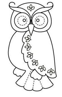 Owl - could use for embroidery/cross-stitch outline or design, could also use for other crafts Wool Applique, Embroidery Applique, Embroidery Designs, Owl Patterns, Applique Patterns, Motifs D'appliques, Coloring Books, Coloring Pages, Quilting