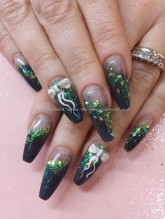Petrol acrylic with glitter and 3d acrylic bow nail art