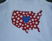 Fourth of July USA applique shirt...red, white, and blue...stars and stripes