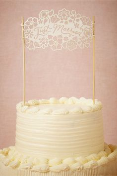 product | Just Married Cake Topper from BHLDN | laser cut details