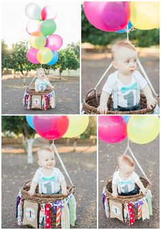Hot Air Balloon First birthday Photo Shoot by #kelseyShirleyPhotography