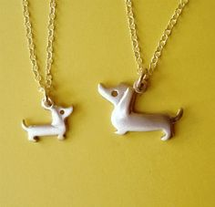 Mother and Child Dachshund Dog Necklaces in by zoozjewelry on Etsy, $61.11