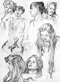 alphonse mucha. drawing. pencil. sketches. studies