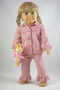 "2 PIECE PAJAMAS Sleep Set Loungewear PINK Green Stripes for American Girl or 18"" Doll"