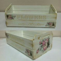 Decoupage Furniture, Decoupage Box, Decoupage Vintage, Wooden Art, Wooden Boxes, Wood Crafts, Paper Crafts, Wall Boxes, Shabby Chic Farmhouse
