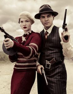 "Emile Hirsch and Holliday Grainger in the TV mini-series ""Bonnie & Clyde"" - Costume Designer: Marilyn Vance."