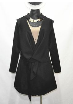 Fashion All-match Asymmetrical Black Cotton Blends Long Trench