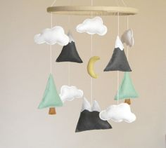 Mountains Baby Mobile Baby Crib Mobile Modern by Rainbowsmileshop