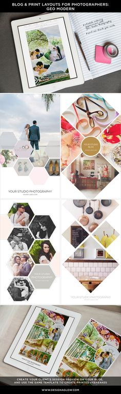Stylishly transform marketing materials, prints and canvases with our hot new Geo Modern Blog & Print Layouts from Design Aglow