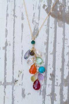 Gemstone waterfall necklace on 14k gold filled chain