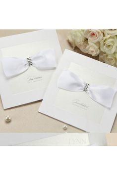 Vintage Side Fold Wedding Invitation With Ribbon 50/Set | LynnBridal.com