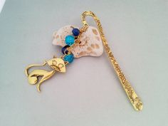 Blue and gold cat metal bookmark with glass by MKedraHandmade, $17.00