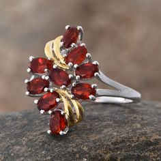 Jalisco Cherry Fire Opal Ring in 14K Yellow Gold and Platinum Overlay Sterling Silver (Nickel Free)