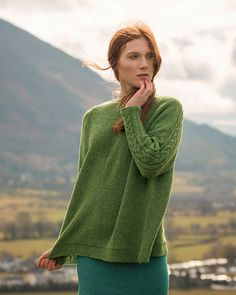 Seamed cable sweater knitting pattern Skiddaw by Kari-Helene Rane knit in The Fibre Co. Arranmore Light