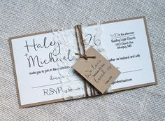 Modern Wedding Invitation Lace Wedding by LoveofCreating on Etsy