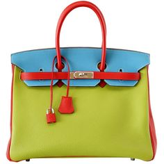 HERMES BIRKIN 35 bag tri color special order Vert Anis Rouge Garrance... ($19,500) ❤ liked on Polyvore featuring bags, handbags, hermes bag, green bags, multi colored purses, green handbags, blue gift bags and hermes purse