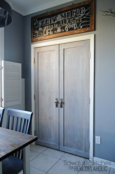 Bifold pantry doors into paneled french doors – love this modern update! Bifold pantry doors into paneled french doors – love this modern update! Kitchen Pantry Doors, Sliding Pantry Doors, Glass Pantry Door, Sliding French Doors, French Doors Patio, Double Doors, Patio Doors, Glass Doors, Interior Design Elements