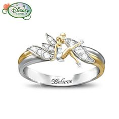 "Tinker Bell ""Believe"" Two-Toned Engraved Ring... I love Disney and fairies & I would LOVE to have this ring!"