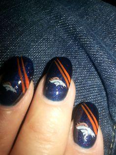 denver broncos nail art - Google Search Denver Broncos Nails, Go Broncos, Broncos Fans, Denver Football, Toe Designs, Nail Art Designs, Get Nails, Hair And Nails, Football Nail Art