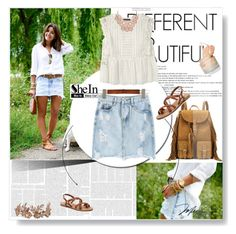 """""""SheIn Denim Skirt Contest -- JOIN"""" by albinnaflower ❤ liked on Polyvore featuring Yves Saint Laurent, Violeta by Mango and Steve Madden"""