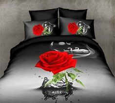 New Product 3D Rose Printing Bedding Set King Size Comforter Bedding Set  Cotton Bedding (Size: King, Color: Multicolor)