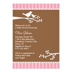 Silhouette Birds Baby Shower Invitations