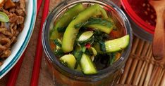 Add flavour and authenticity with this Korean pickle. Cucumber Kimchi, Kimchi Recipe, Garlic Chives, Chilli Paste, Tasty, Yummy Food, Korean Food, Korean Recipes