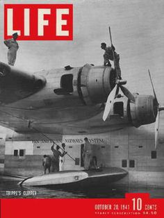 Life Magazine Copyright 1941 Pan American Airways Clipper - www.MadMenArt.com   Life Magazine ran weekly from 1883 to 1972. First as a humor and general interest magazine and from 1936 it was the worldwide magazine no 1 in photojournalism. #LifeMagazine #Vintage #Life #Magazines #Photojournalism #MagazineCovers #History #Celebs #Celebrities