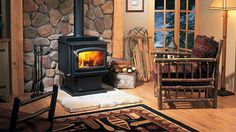 modern living room design and decorating around wood stove