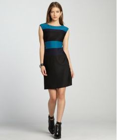 julia jordan excite teal, navy and black colorblock sleeveless party dress