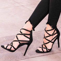 Metal Rings Strappy Sandal Heels