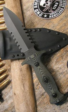 Jim Behring Treeman Knives 6 inch Combat Dagger Fixed Knife Blade OD Green G10 Double-Edged hollow ground to a piercing point