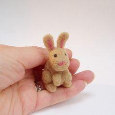 tiny needle felt rabbit